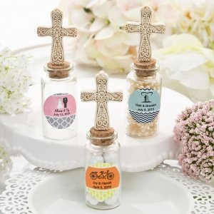 Ivory Cross Personalized Candy Jar Favors image