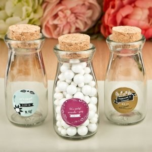 Personalized Expressions Vintage Glass Milk Bottle Favors image