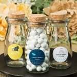Personalized Wanderlust Vintage Glass Milk Bottle Favors