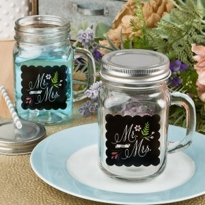 Sayings Collection Mr & Mrs 12 oz Glass Mason Jar With Handl image