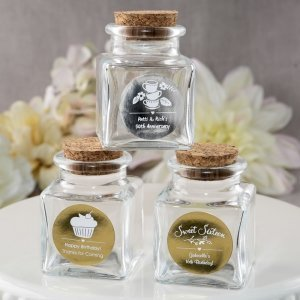 Personalized Metallics Occasions Square Glass Jars image