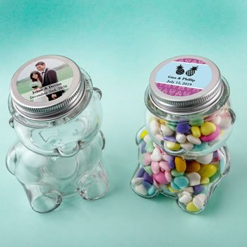 Personalized Wedding Teddy Bear Jar with Matte Silver Lid image