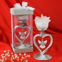 Heart Shaped Candle Holder with Hanging Angel Charm