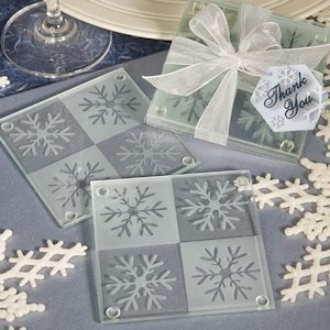 Lustrous Snowflake Glass Coaster Set image