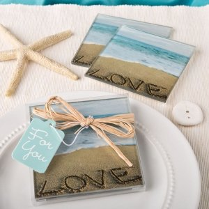 Beach Love Themed Glass Coasters Set image