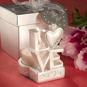 Stacked 'Love' Design Candle Wedding Favor image