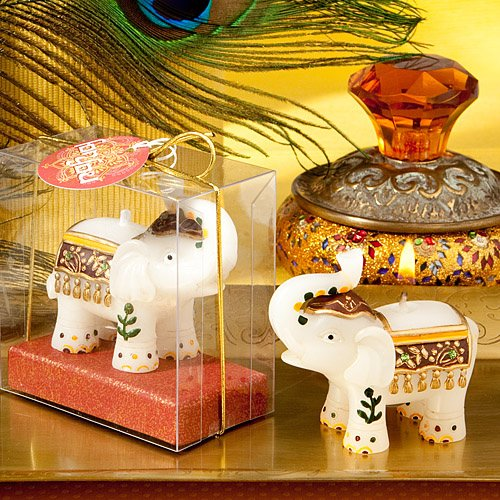 Send Wedding Gifts Online India: Good Fortune Elephant Candles