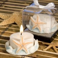 Blue Base Starfish Design Candle Favor