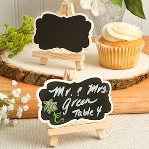 Natural Wood Easel & Blackboard Placecard Holder image