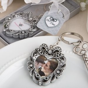 Vintage Heart Photo Key Chain Wedding Favors image