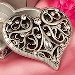 Intricate Heart Design Curio Box Favors