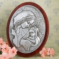 Pewter Madonna and Child Plaque