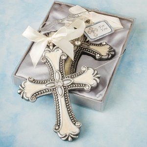 Pewter Cross Ornament with Enamel Inlay image