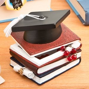 Graduation Hat and Books Trinket Box Favor image