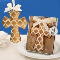 Gold Hampton Link Design Cross Ornament Favor