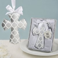 Silver Hampton Link Design Cross Ornament Favor
