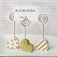 Gold and Pearl Heart Shaped Placecard Holders