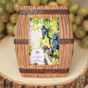 Wine Barrel Themed Place Card Frame Favors image
