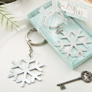 Stunning Snowflake Design Silver Metal Key Chain Favors image