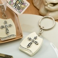 Beautiful Cross Themed Plaque Key Chain Favors