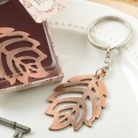 Copper Color Metal Fall Leaf Design Key Chain Favors