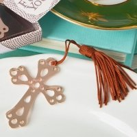 Rose Gold Metal Cross Book Mark Favors