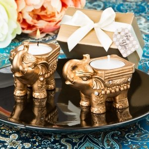 Gold Good Luck Indian Elephant Candle Holder image