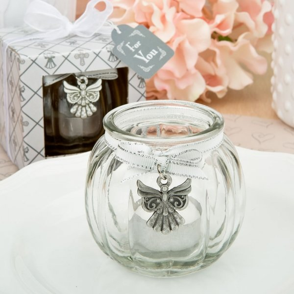 Angel Themed Clear Glass Round Globe Candle Holder