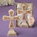 Antique Ivory Filigree Cross Statue