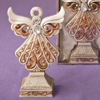Antique Ivory Filigree Angel Statue