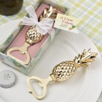 Gold Pineapple Themed Bottle Opener Favor