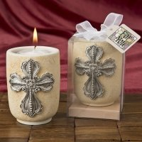 Large Cross Design Tea Light Candle Holder Favor