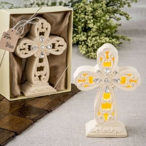 Glowing Ivory Color Standing Cross Statue with LED Lights image
