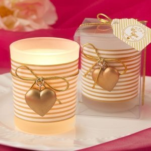 Gold Striped Heart Design Votive Candle Holder Favors image