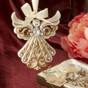 Antique Ivory and Gold Filigree Angel Ornament Favors image