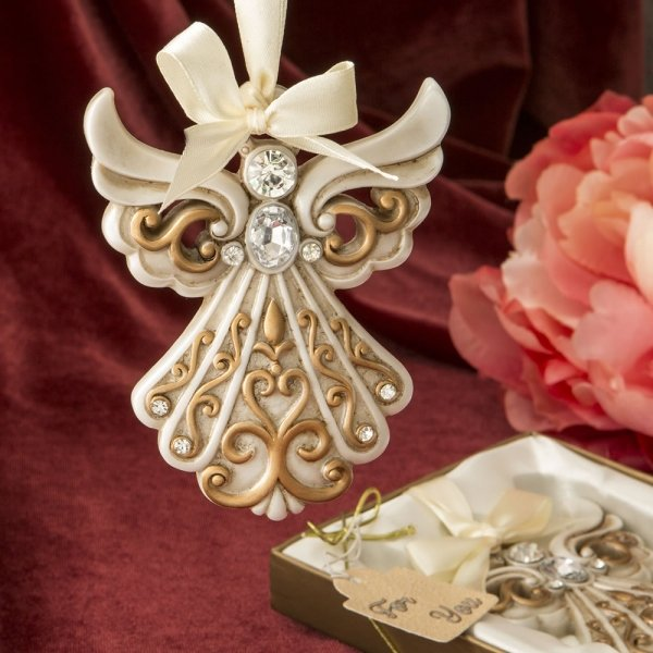 Antique Ivory And Gold Filigree Angel Ornament Favors