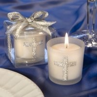 Glittering Cross Votive Candle Favors