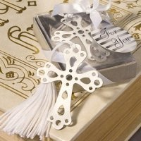 Silver Cross Bookmark Favors for Christenings