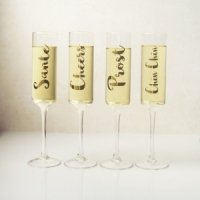 Gold Cheers Contemporary Champagne Flute Set