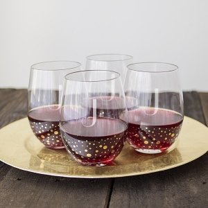 Personalized Gold Dot Stemless Wine Glasses (Set of 4) image