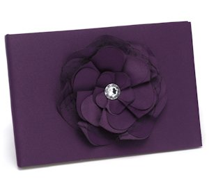 Eggplant Floral Purple Wedding Guest Book image