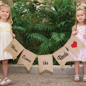 Here Comes the Bride Burlap Banner image