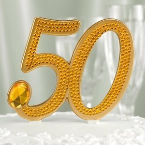 Gilded 50th Anniversary Cake Pick image