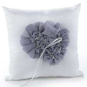 Glamorous Grey Wedding Ring Pillow image