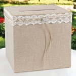 Rustic Romance Burlap Wedding Card Box