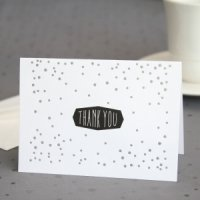 Silver Polka Dot Thank You Note Cards (Set of 50)