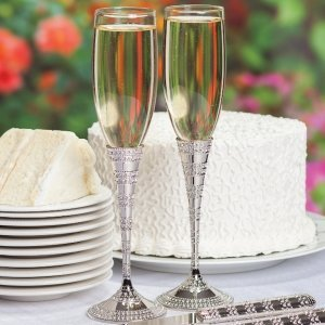 Enchanting Crystal Wedding Toasting Flutes image
