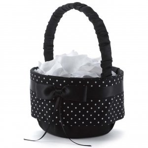 Black & White Polka Dot Flower Girl Basket image