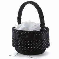 Black & White Polka Dot Flower Girl Basket