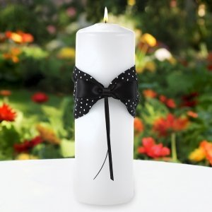 Black & White Polka Dot Unity Candle with Wrap image